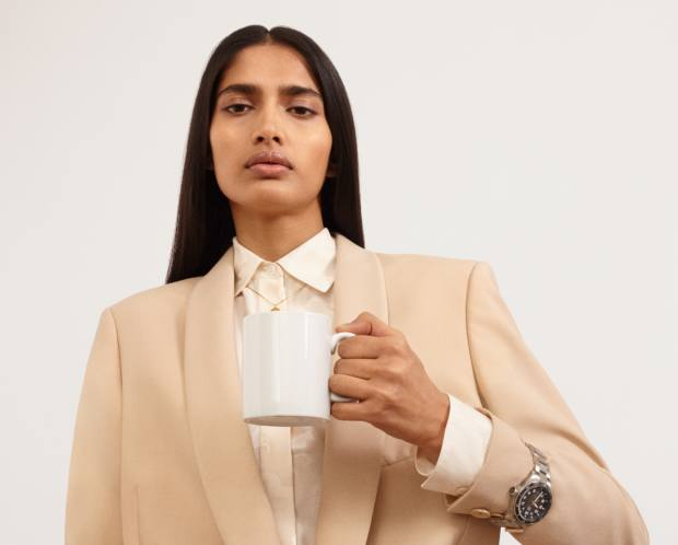 Stella McCartney recycled-polyester jacket, £1,075, and silkshirt, £525. Tag Heuer Auvatia steel watch, £2,750