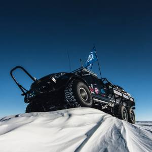 one of the Toyota Hilux trucks used in The Explorations Company's Antarctic expeditions