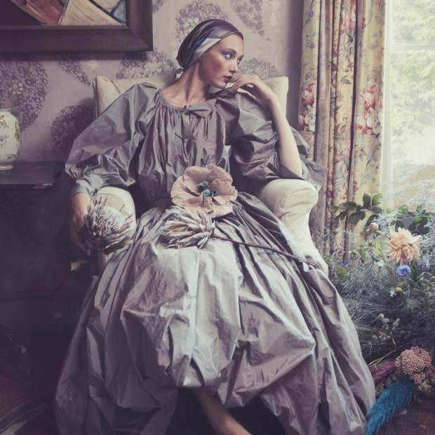 Molly Goddard taffeta Zelda dress, £1,900. Lamar silk/satin headscarf, from £55. VV Rouleaux linen poppy, £72. Rebel Rebel flower heads and garden flower arrangements, price on request