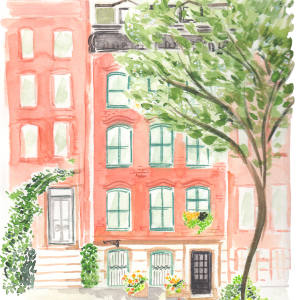 Toronto-based Virginia Johnson's watercolour of a private brownstone residence in New York's West Village