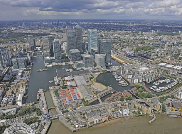 Canary Wharf, with the Wood Wharf site in the foreground