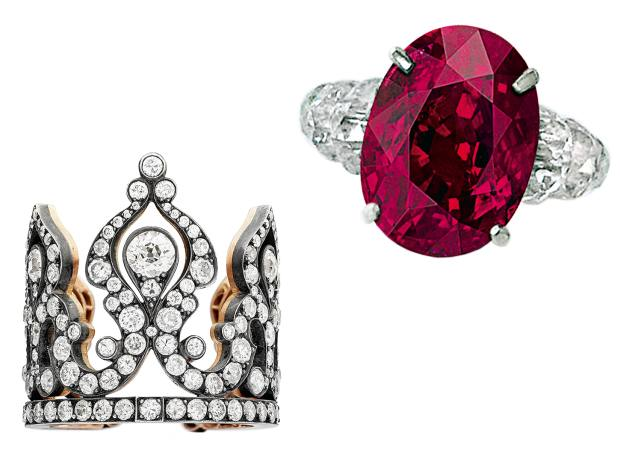 From left: Margaret rose gold, silver and diamond Tiara ring, £30,000. Viren Bhagat platinum, ruby anddiamond ring, sold for $10.5m at Sotheby's Hong Kong