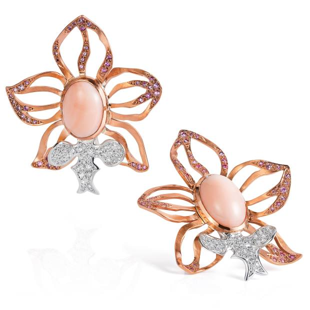Gold, copper, coral and diamond Queen Orchid earrings, price on request