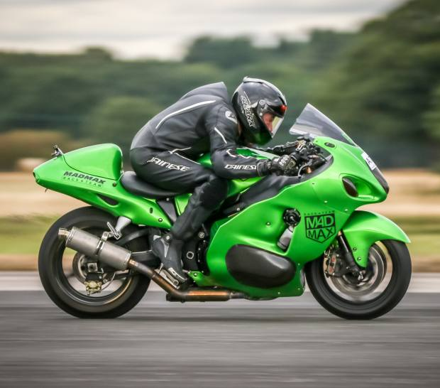 "Guernsey-based top speed racer Zef Eisenberg set a new ""Flying Mile"" speed record at Pendine Sands on this Suzuki Hayabusa"