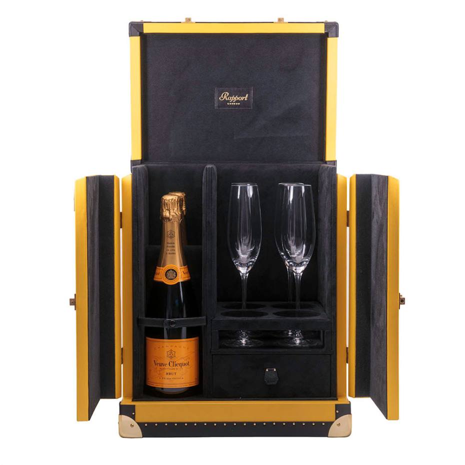 Interior of a bespoke champagne trunk