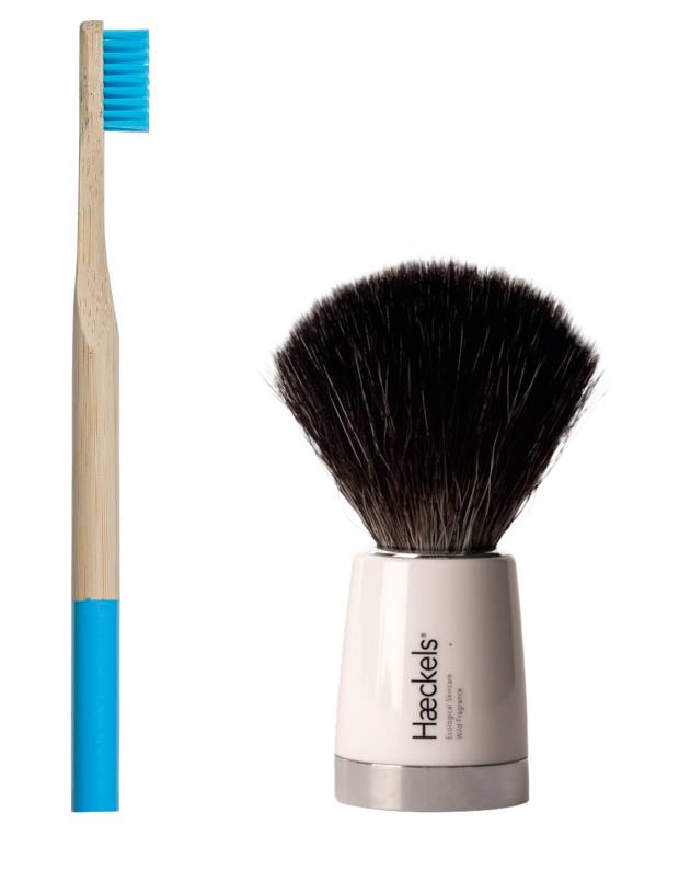 Zero Waste Club toothbrush, £3.99: biodegradable and sustainable bamboo with recyclable bristles. Haeckels shaving brush, £45: with recycled synthetic fibres