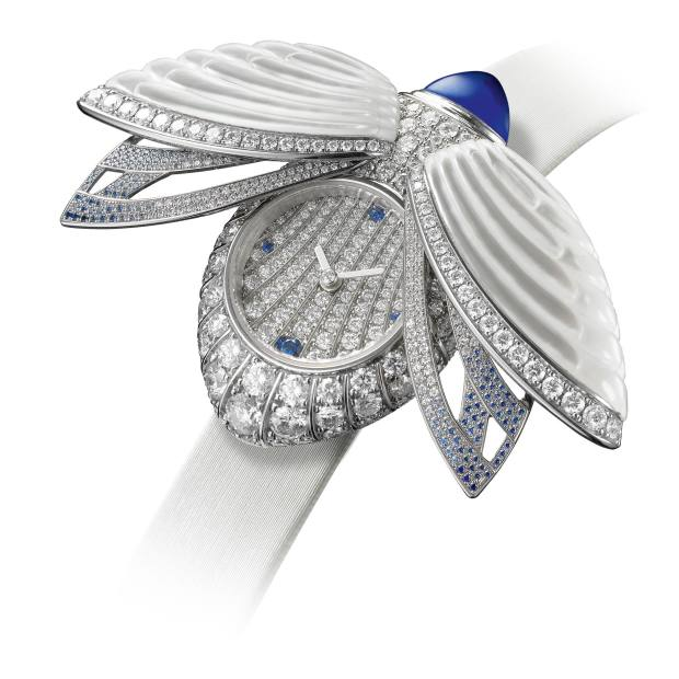 Boucheron white gold, diamond, sapphire and mother-of-pearl Khepri à Secret on satin strap, price on request