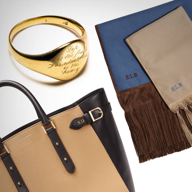 From left: Aspinal calf-leather Marylebone bag, from £795. Annina Vogel original Victorian signet ring with hand-engraved Victor Hugo quote, £350. Emma Logue cashmere and leather tassel shawls in blue, £395, and beige, £325 (£10 per letter)