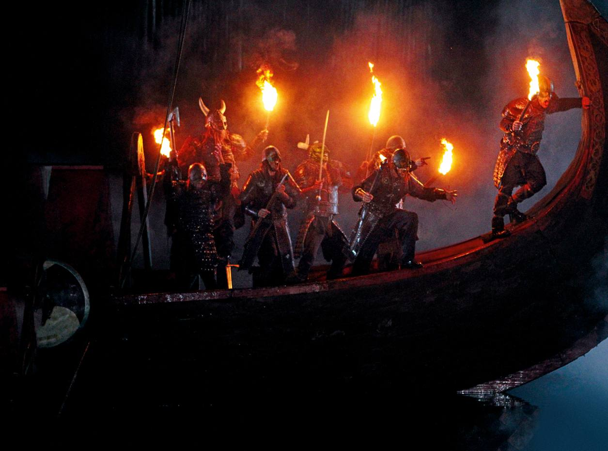 Viking raiders attack from a longship, a scene from Kynren: An Epic Tale of England