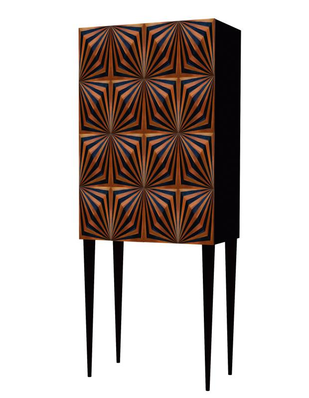 Violeta Galan straw marquetry and walnut OpArt drinks cabinet, £14,900