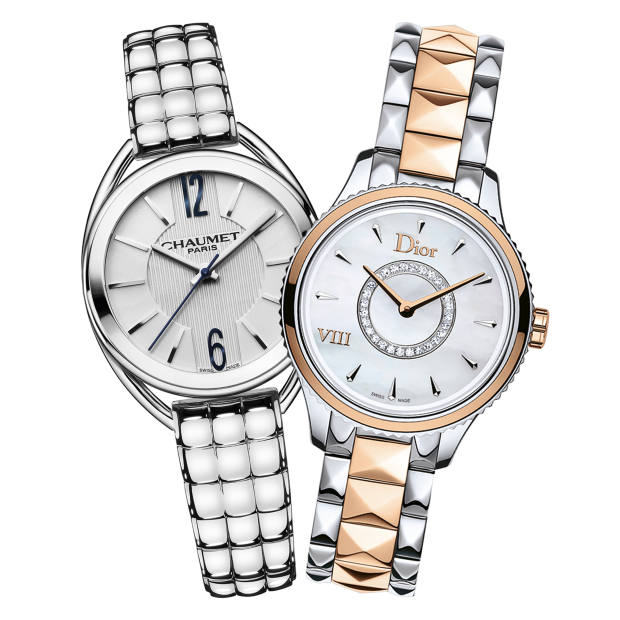 Chaumet stainless-steel Liens, £2,410. Dior rose-gold, stainless-steel, diamond and mother-of-pearl VIII Montaigne, £7,100