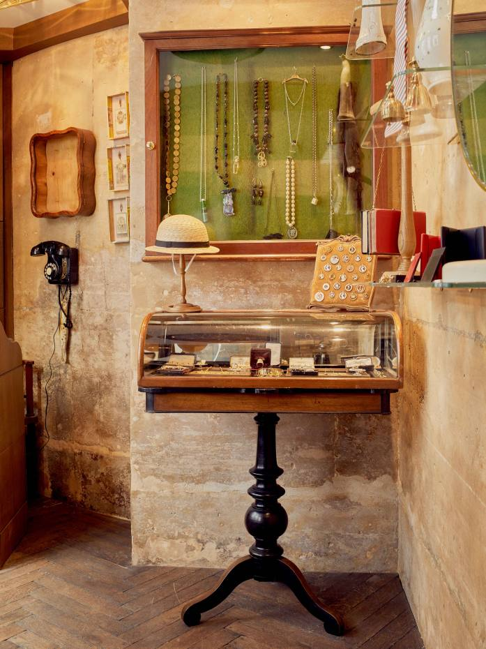 The boutique's accessories corner, where silver jewellery and pieces made from antique objects are displayed
