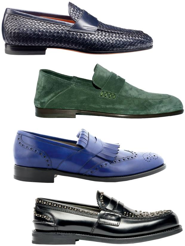 From top: Santoni calfskin loafer, €570.  Harrys of London calfskin suede loafer, £395. Manolo Blahnik leather loafer, £695. Church's leather Pembrey Met loafer, £380