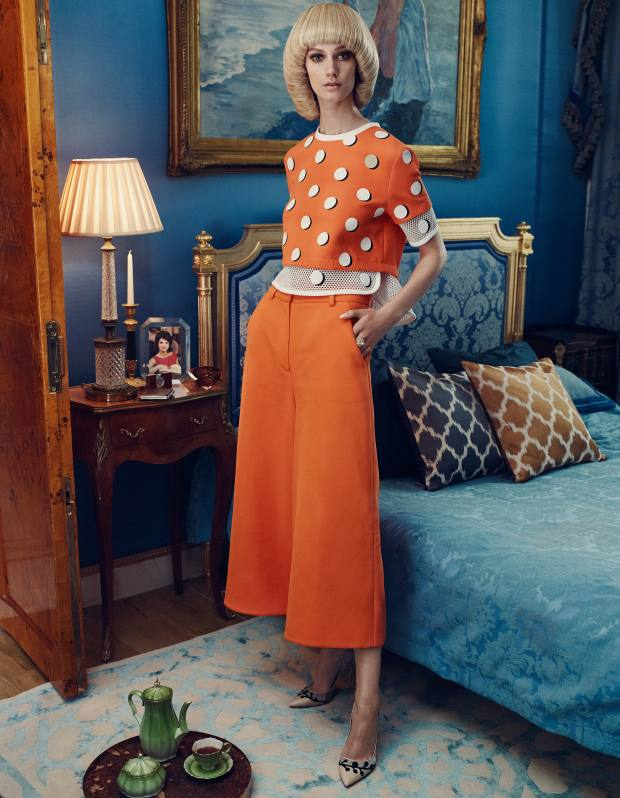 Fendi cotton-mix top, about £600, and cotton-mix trousers, price on request. Rupert Sanderson suede heels, £595. Cartier rose-gold, pearl and diamond Paris Nouvelle Vague ring, £31,200