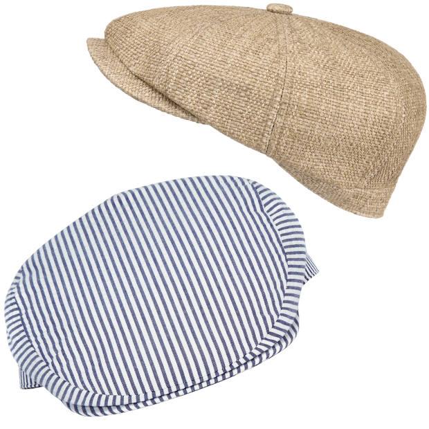Stetson Japanese toyo strawnewsboy cap, £59. Lock & Cocotton seersucker Santorini newsboy cap, £115