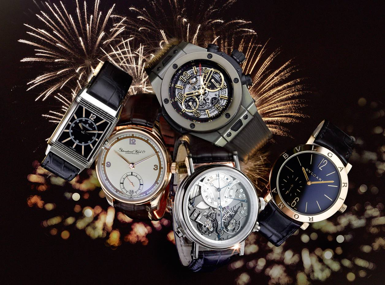 Clockwise from far left: Jaeger-LeCoultre white-gold and alligator Grand Reverso Auto 1931 Seconde Centrale, £14,800. Hublot gold Big Bang 10th Anniversary, £25,300. Bulgari gold and alligator B Roma Finissimo, £18,400. Breguet white-gold Tradition Independent Chronograph watch, £56,400. IWC rose-gold and silver-plate Portugieser Eight Days Edition 75th Anniversary, £15,250