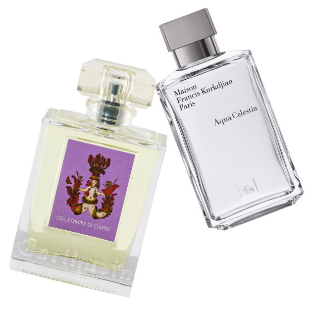 Carthusia's Gelsomini di Capri, £60 for 50ml EDP. Maison Francis Kurkdjian Aqua Celestia, £130 for 70ml EDT