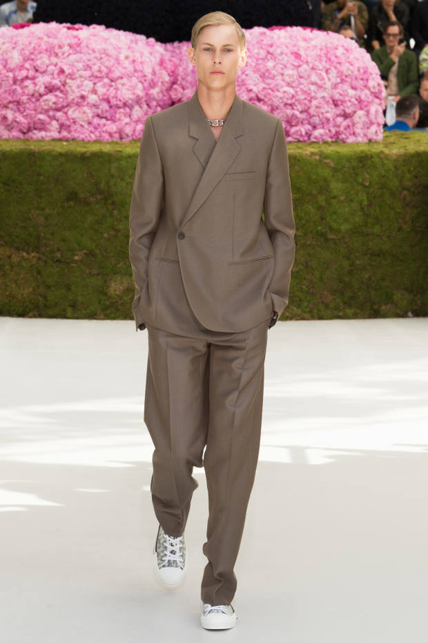 Dior wool/mohair canvas Tailleur Oblique jacket, £2,200, andmatching trousers,£690