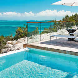 A private infinity pool at Beach Enclave North Shore in Turks & Caicos