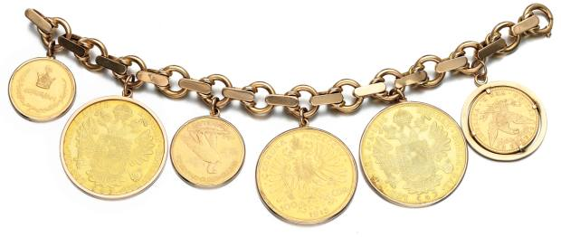 Jewels include this very on-trend gold-coin bracelet (£4,000-£5,500)