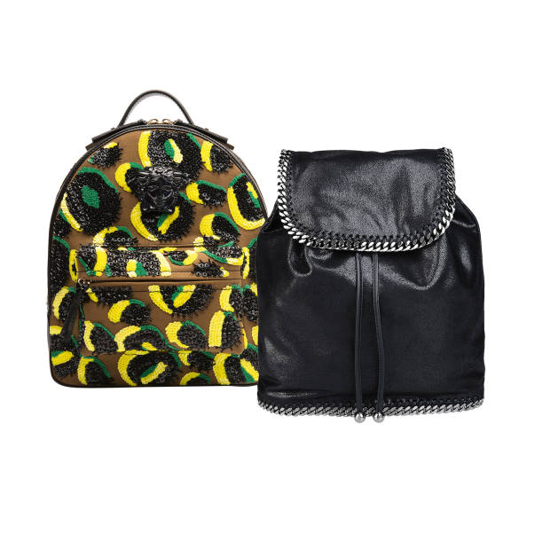 From left: Versace canvas and leather Palazzo backpack, £1,853. Stella McCartney faux-leather Shaggy Deer backpack, £755
