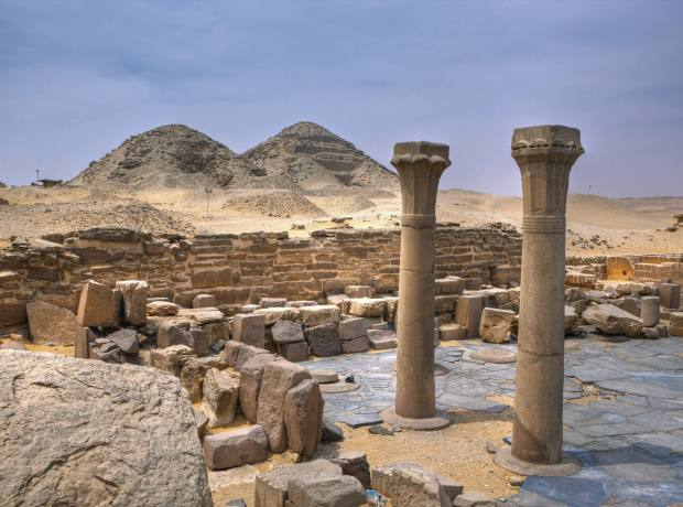 The temple and pyramids of Abusir.