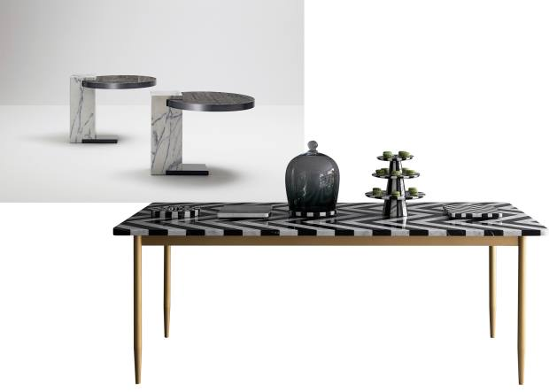 From left to right: Barn in the City wood and marble side tables, price on request. Bethan Gray for Lapicida marble and brass Herringbone dining table, £30,000