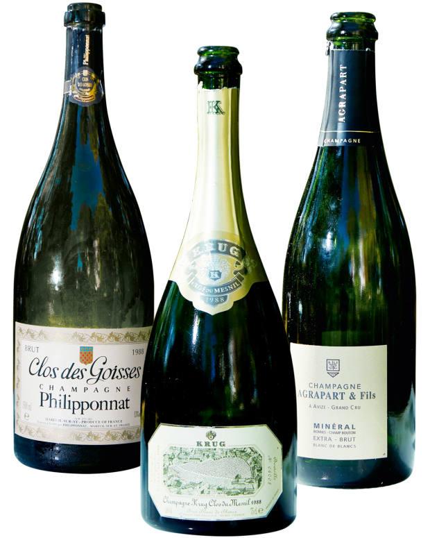 From left: magnum of 1988 Philipponnat Clos des Goisses, £1,000. 1988 Krug Clos du Mesnil, £1,800. 2011 Agrapart & Fils Mineral, £60
