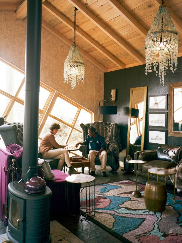 The cabins have glamorous touches such as chandelier-style lighting, faux-fur rugs for cold nights and soft velvet daybeds