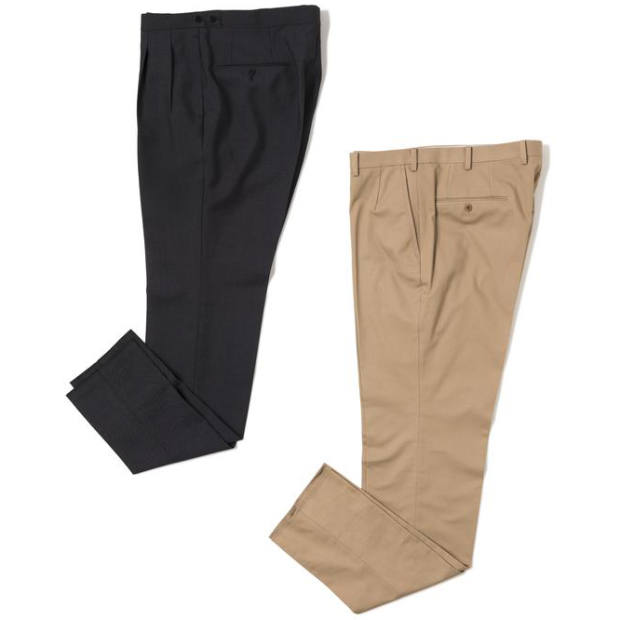 From left: The Armoury x Osaku Pleated trousers, $550, and Flat-Front trousers, $495