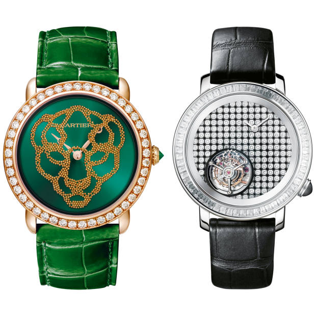 From left: Cartier rose-gold, diamond and emerald Révélation d'une Panthère, £96,500. Boucheron white-gold and diamond Épure Tourbillon Damier Cabochon, £184,000