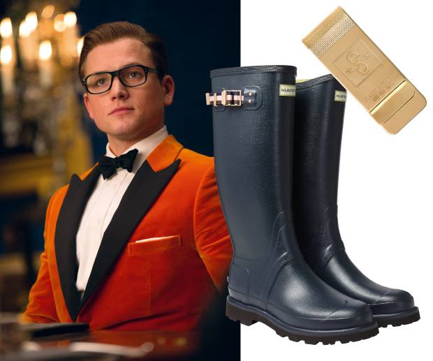 From left: Egerton in a tangerine smoking jacket. Kingsman x Hunter wellingtons with rose-gold hardware, £195. Kingsman x Deakin & Francis gold tone Statesman money clip, £250