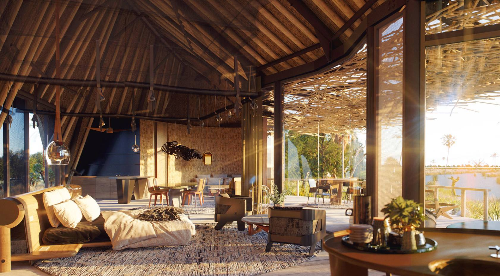 A living space in the redesigned Jao Camp, in Botswana