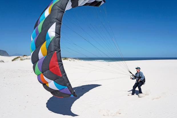 The author practises ground-handling on the white sands of Betty's Bay