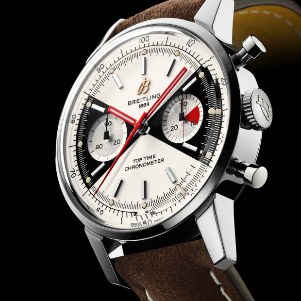 The 41mm steel-cased watch uses Breitling's self-winding, chronometer-certified Caliber 23 chronograph movement