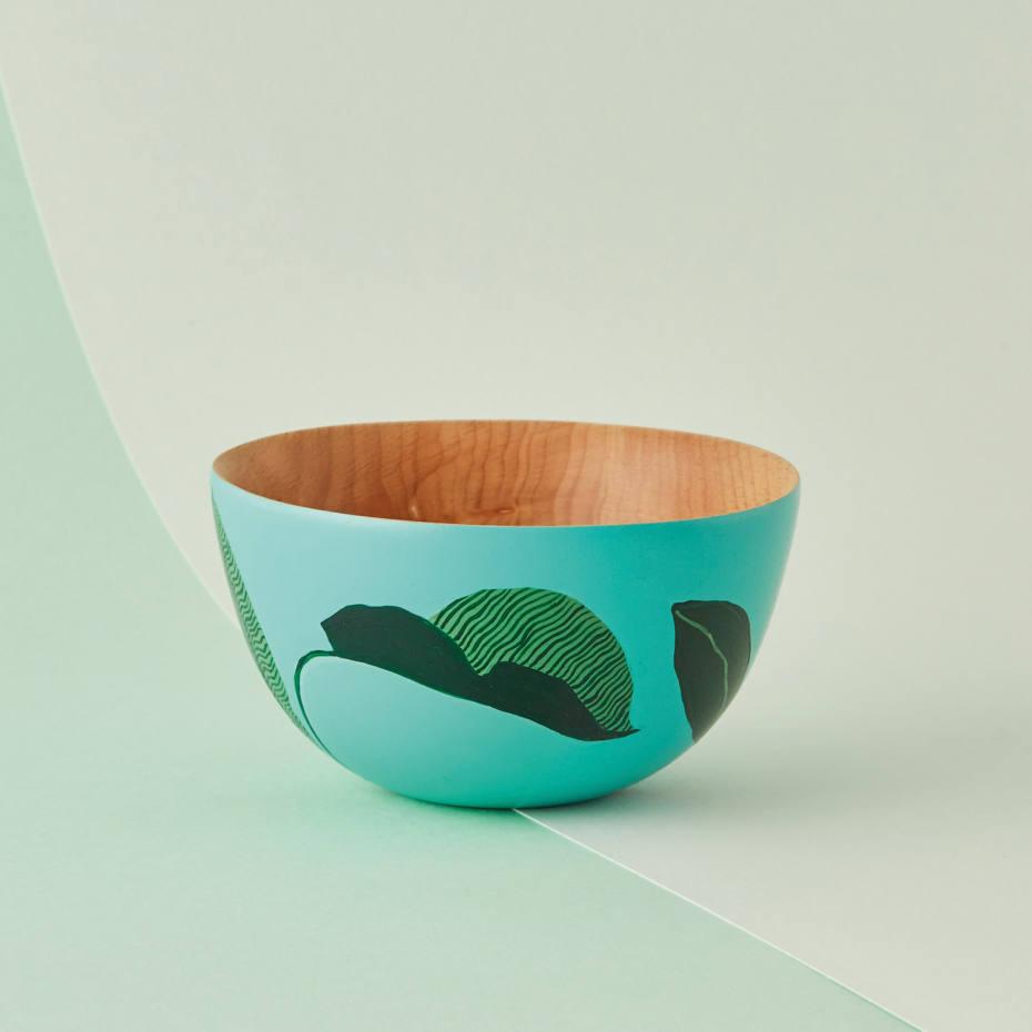 Amy Isles Freeman's beechwood Little Blue Leafy Bowl, £100