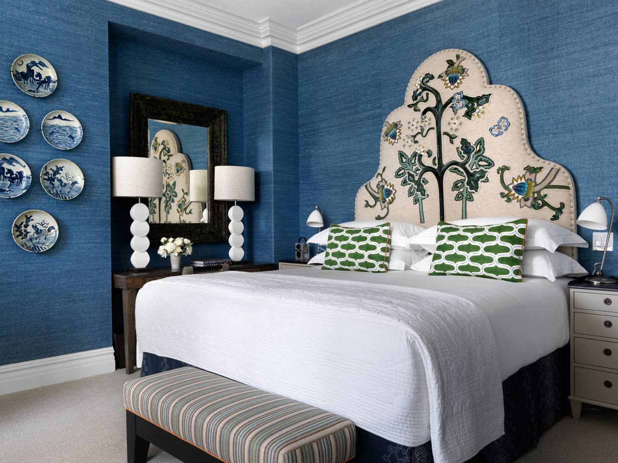 One of the Kit Kemp-designed bedrooms at The Whitby in New York
