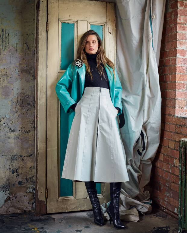Philosophy di Lorenzo Serafini polyester/polyurethane coat, £1,140, and wool/Ryton rollneck, £230. Fendi leather skirt, £3,080, and leather boots, £1,090