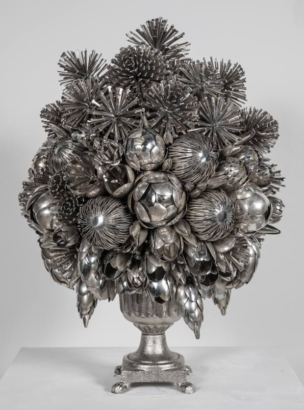 One of Carrington's bouquets made from silver, nickel and steel spoons, from £15,800