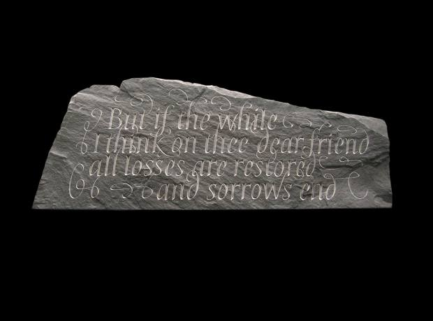 A Shakespeare sonnet on Welsh slate by Emily Hoffnung.