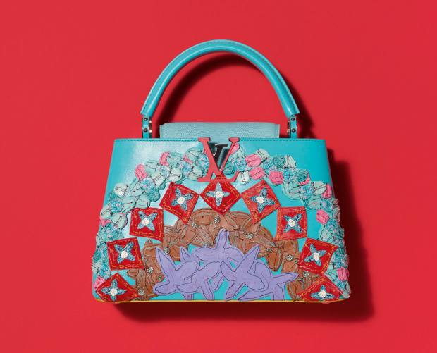 Tschabalala Self's calf- and lizardskin Capucines bag, €6,500, features the patchwork and embroidery techniques she employs in her art