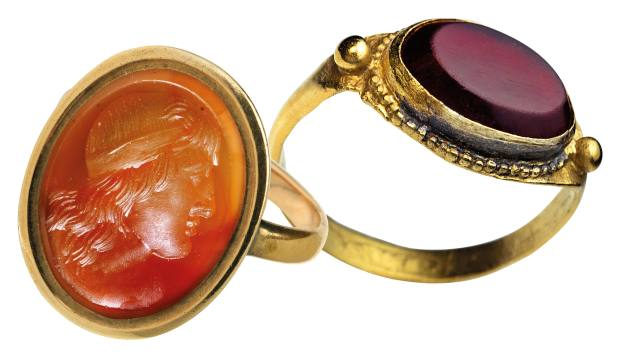 From left: c1800 gold and carnelian ring, £1,250 from Wimpole Antiques. 400-700 AD gold and garnet ring, $7,500 from Romanov Russia