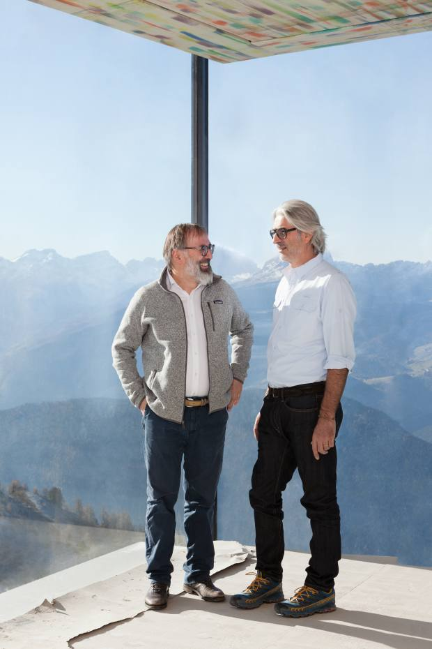 Chef Norbert Niederkofler (left) overseeing the preparations for the contemporary space