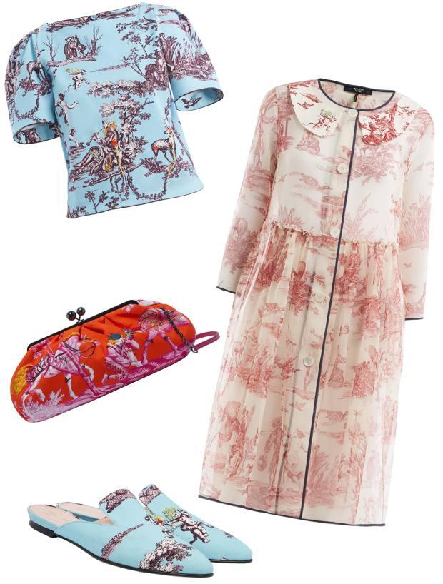 From top: Weekend Max Mara x Fenwick cotton Atzeco top, £289. Fervida handbag, £395. Vieste silk organdie coat, £559. Gianni fabric shoes, £279