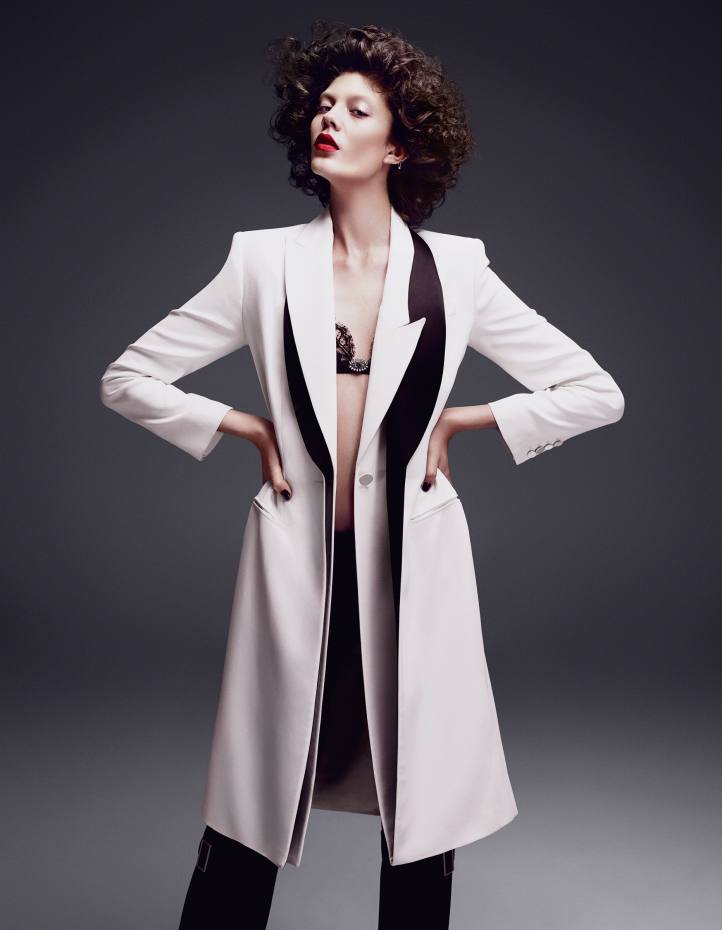 Alexander McQueen silk and satin coat, £3,685, lace bra, £545, and satin/wool/silk trousers, £1,325
