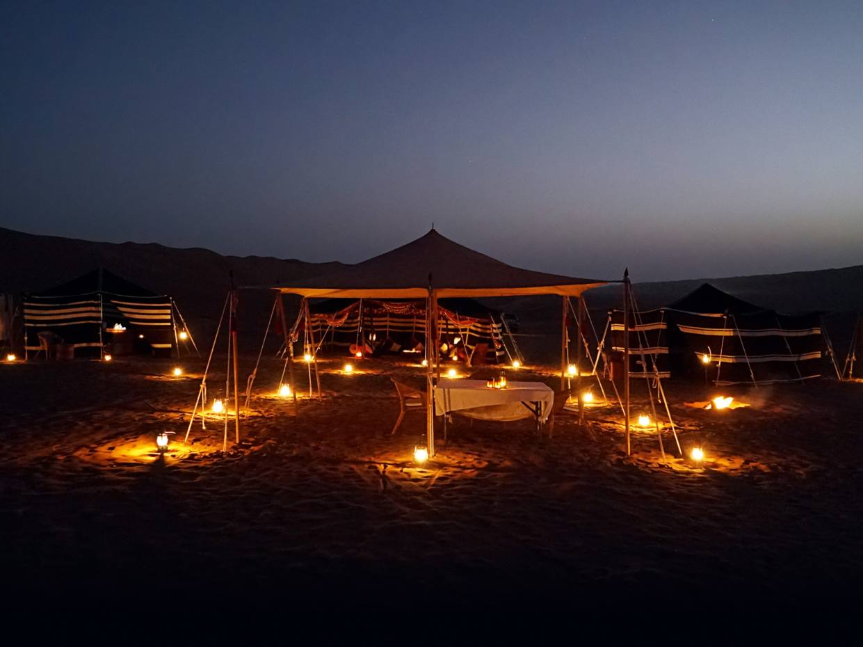 The author spent a night at the sumptuous Hud Hud camp in Wahiba Sands