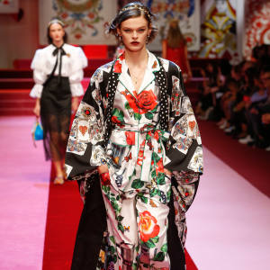 Dolce & Gabbana silk robe, from £3,000, silk pyjama top, from £1,159, and matching trousers, £879