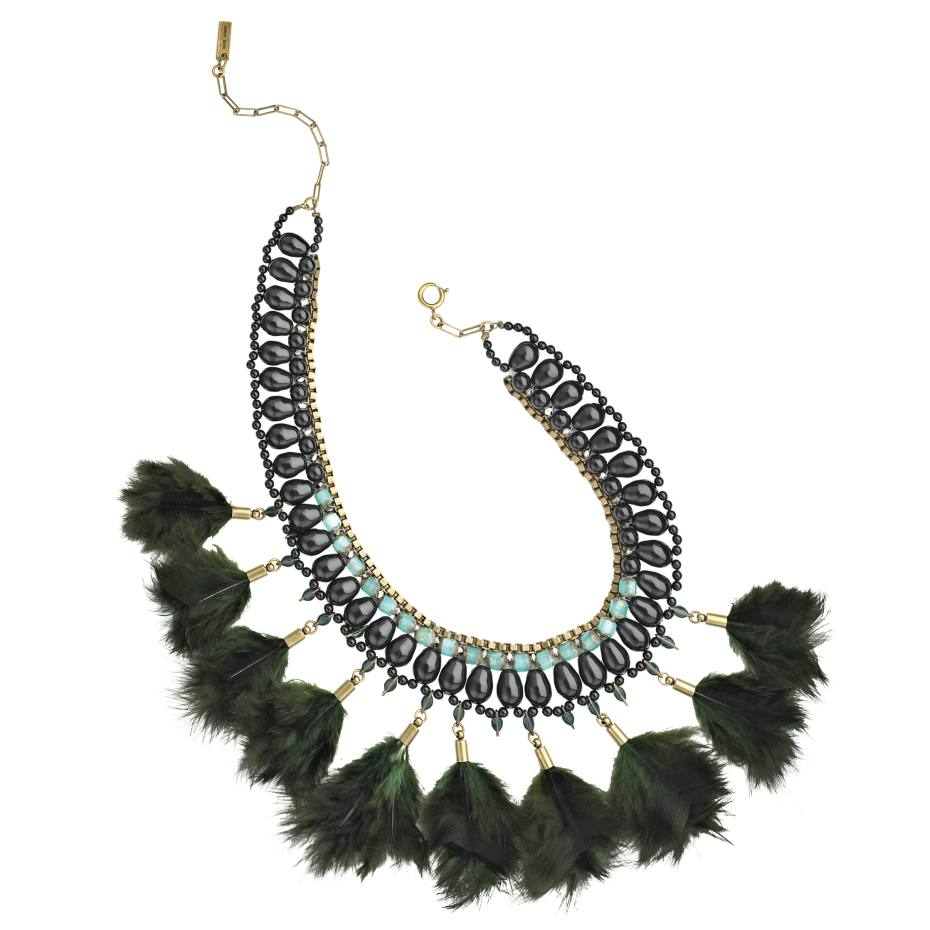 Isabel Marant necklace in gold-tone brass with feathers, resin and crystal beads, £445