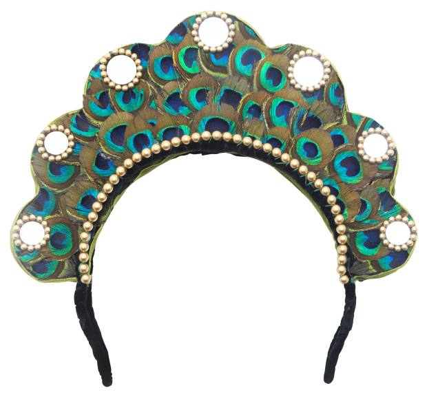 The Peacock and Feather headpieces showcase brightly coloured feathers, beads and mirrors