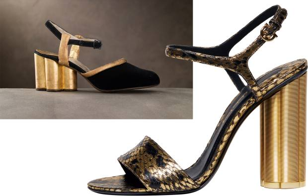 Snakeskin Flower Heel sandals, £665, with the 1930s version